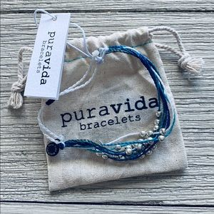 Pura Vida 1% for the planet bracelet blue